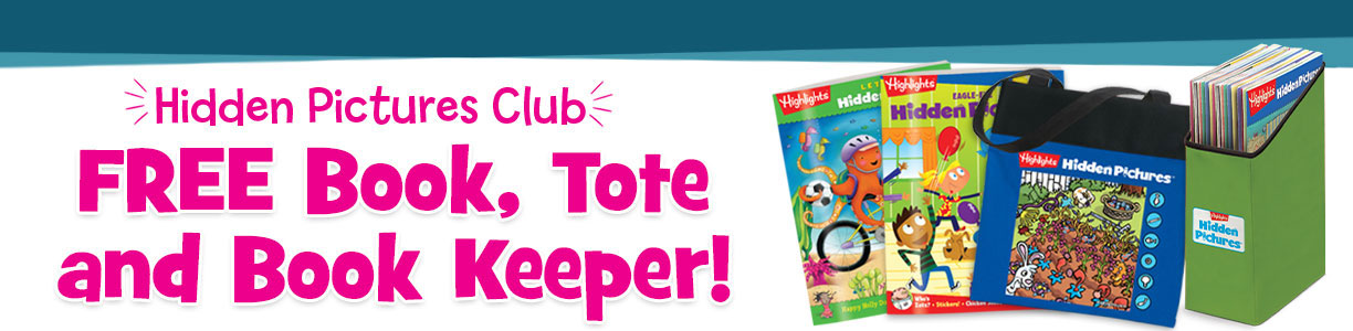 Get a free book, tote and book keeper when you order Hidden Pictures Club!