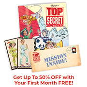 Travel the world through interactive puzzles and activities included in each delivery of Top Secret Adventures club!