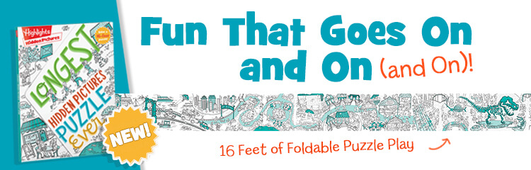 New! Sixteen feet of foldable puzzle fun that goes on and on and on.