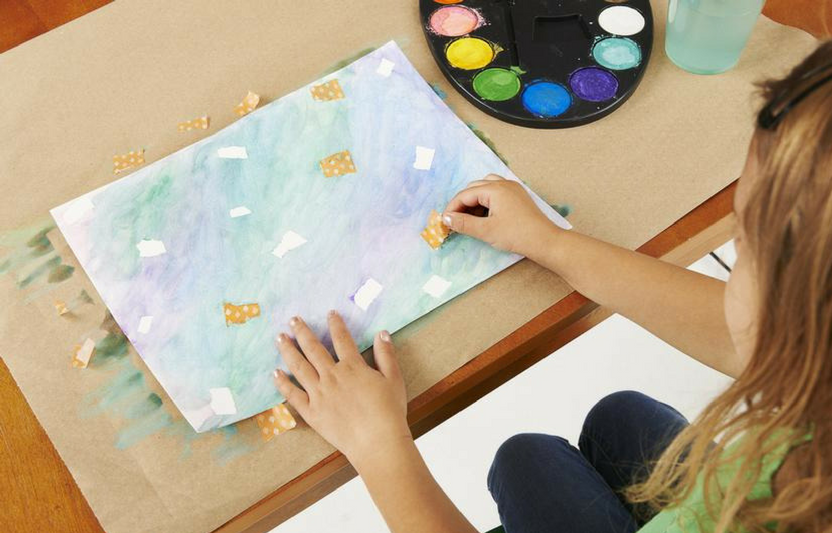 Here's a fun way for kids to ride out a rainy or gloomy spring day: let your young artists paint up a storm!