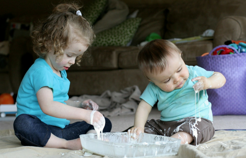 All you need is cornstarch and water to make this messy, baby-safe slime!