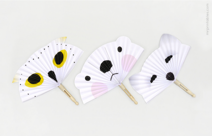 Keep cool with these adorable animal-shaped free printable paper fans.