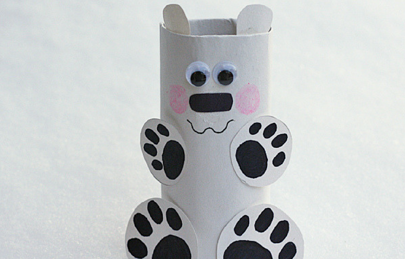 Recycle an empty cardboard tube into this cute polar bear pal!
