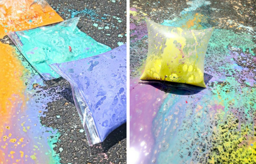 "A fun play on the classic baking soda and vinegar experiment, your kids will love making splatter art with these ""exploding"" chalk baggies."