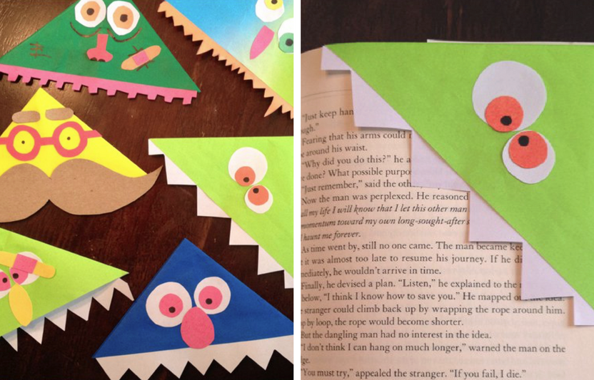 A little beginner's origami is all you need to craft these funny monster bookmarks!