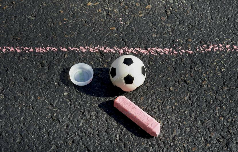This simple sidewalk game is portable and super-easy to play.