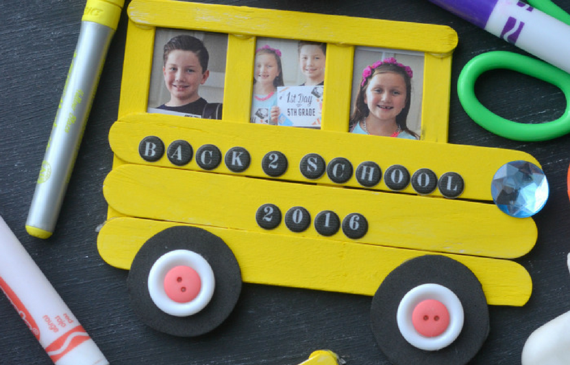 Display your child's school pictures in this adorable craft-stick school-bus frame.