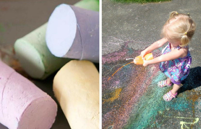 Don't have any sidewalk chalk on-hand? Try making your own sidewalk chalk or sidewalk paint