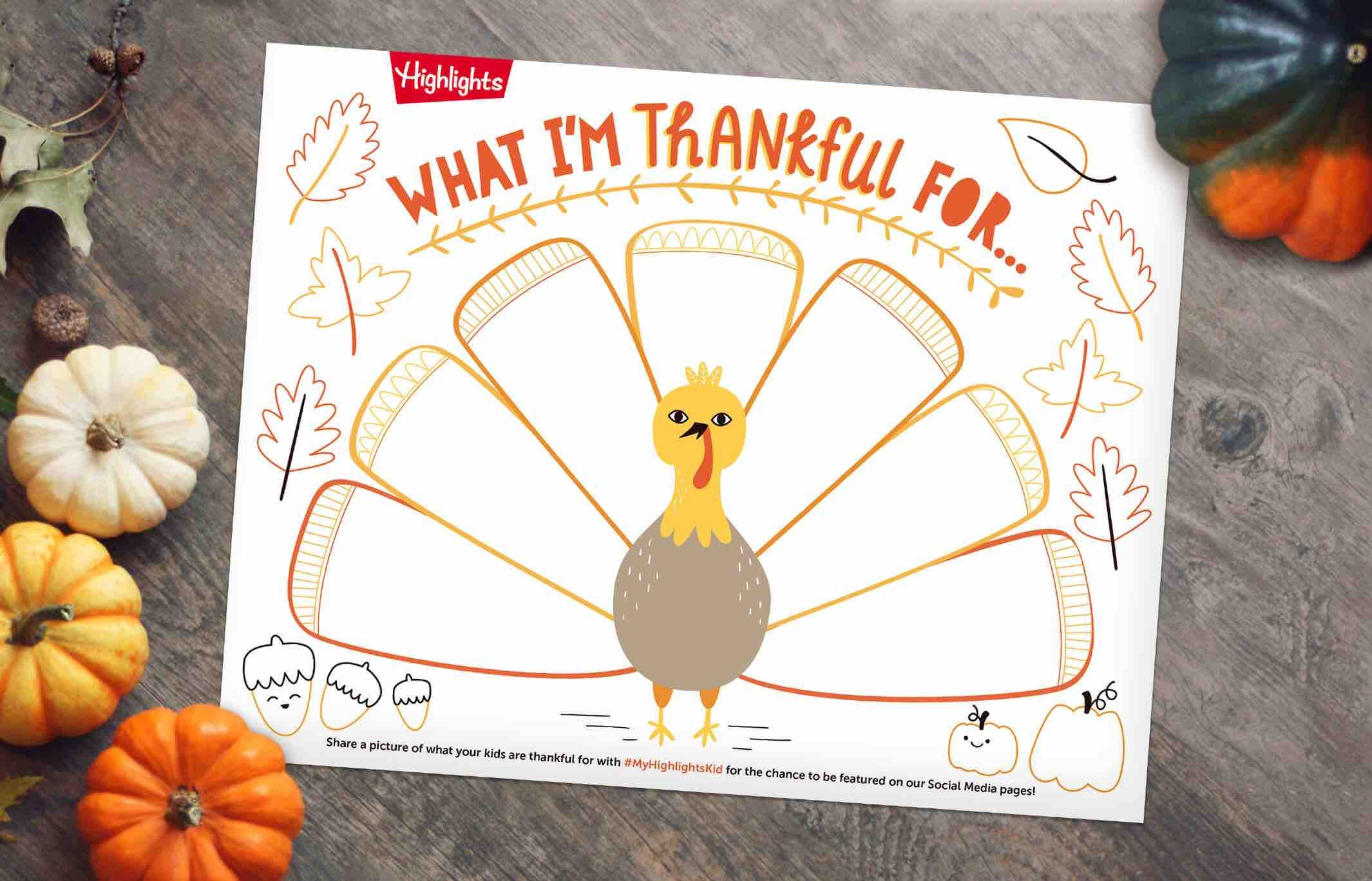 Printable Turkey Placemat