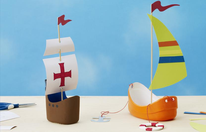 Let your kids set sail with these homemade ships. They can decorate the masts, invent new oceans, and let their imaginations flow. Add cork passengers (just draw on faces) and get ready for an adventure!