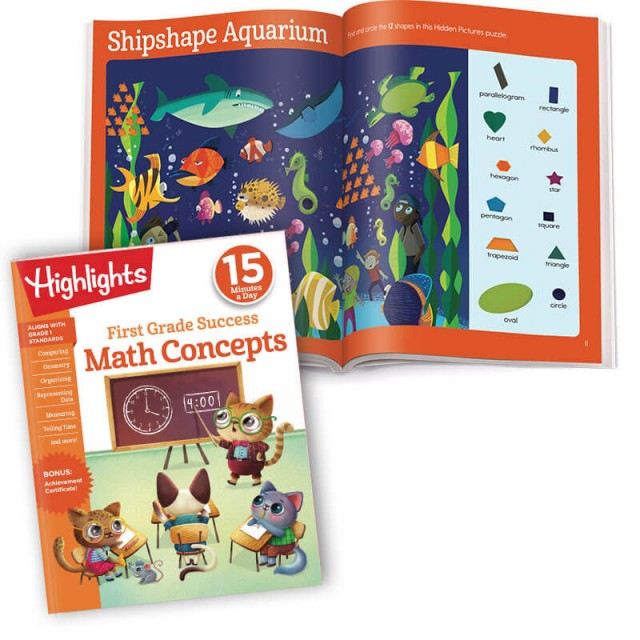 First Grade Success Math Concepts practice workbook and Hidden Pictures activity with shapes