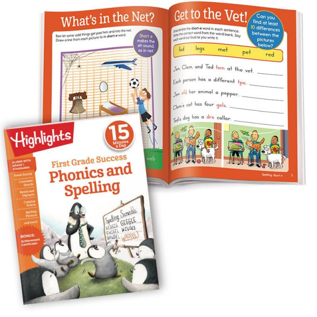 First Grade Success Phonics and Spelling practice workbook and activities teaching short-e words