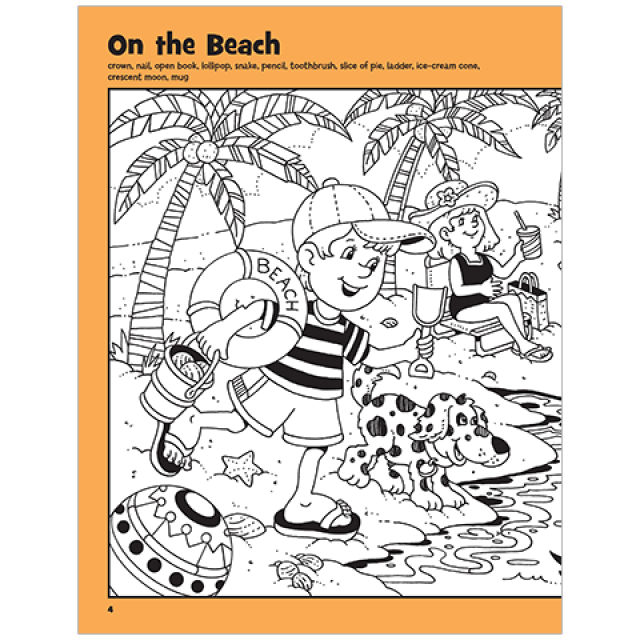 On The Beach Hidden Pictures Puzzle