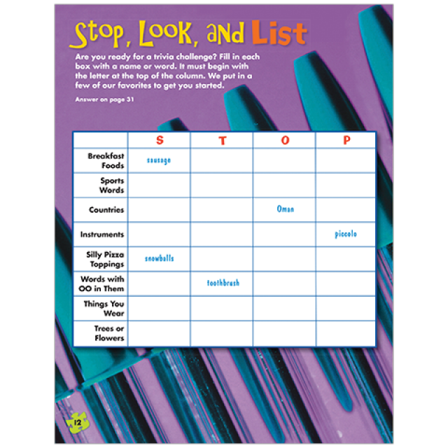 Stop, Look, and List Puzzle