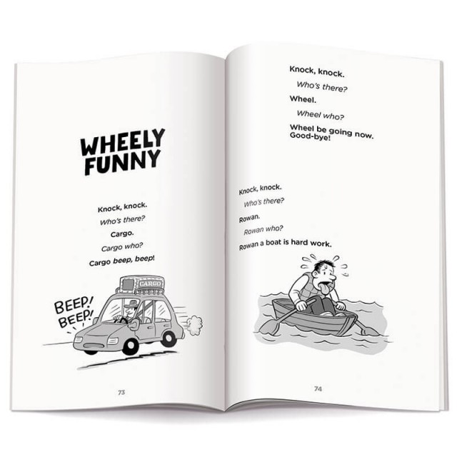 "The beginning of the ""Wheely Funny"" section with 2 illustrations"