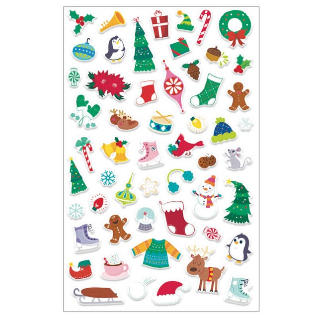 Sticker sheet with Christmas-themed stickers
