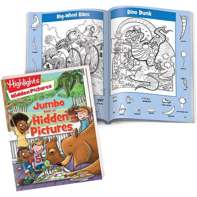 Jumbo Book of Hidden Pictures book with pages of Big-Wheel Bikes and Dino Dunk scenes