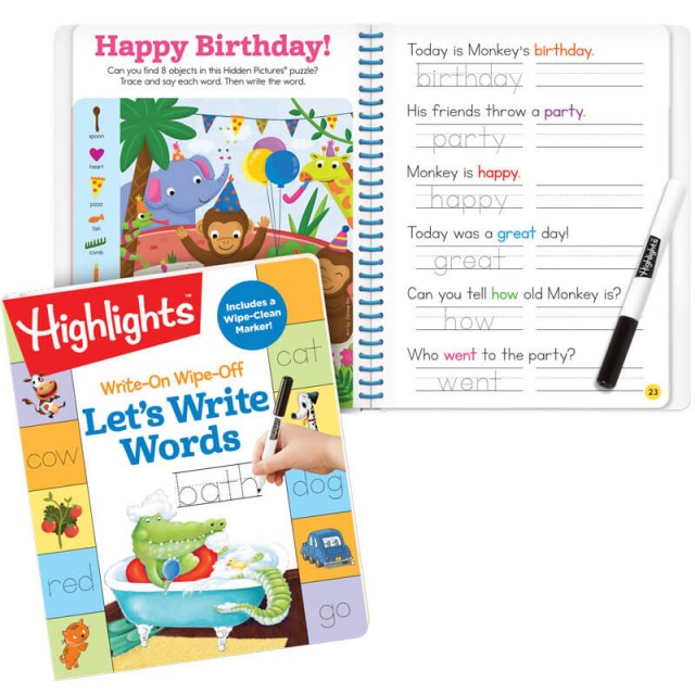 Write-On Wipe-Off Let's Write Words book and marker, plus a birthday party puzzle and related words to trace