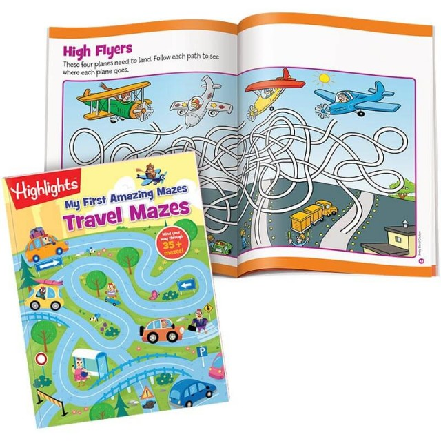 My First Amazing Mazes Travel Mazes book with 2-page airplane-themed maze