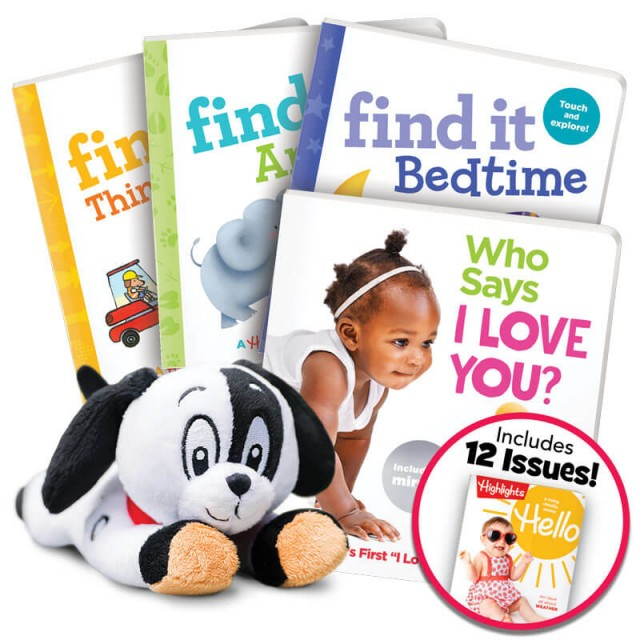 Deluxe Summer Fun Gift Set for Ages 0-3 with 4 books, plush toy and magazine subscription