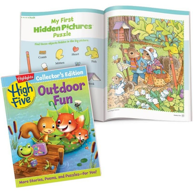 High Five Collector's Edition magazine and Hidden Pictures scene of a bunny family outing