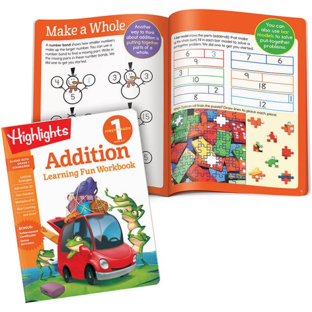 Learning Fun Workbook for Addition plus fact-families lesson