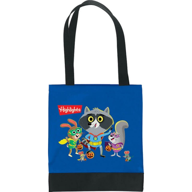 Tote bag with image of a raccoon and friends trick-or-treating