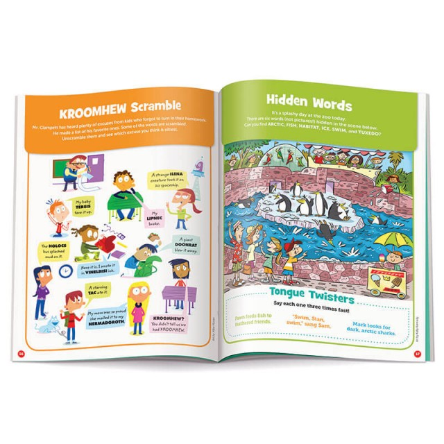 A bunch of scrambled word puzzles and a hidden words scene of a penguin exhibit