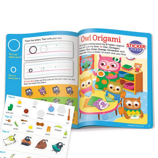 Learning letter O with stickers, matching game and Hidden Pictures puzzle