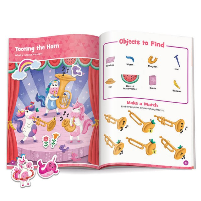 Tooting the Horn puzzle with stickers and matching game