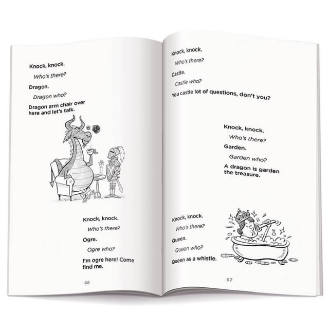 Page of illustrated knock knock jokes
