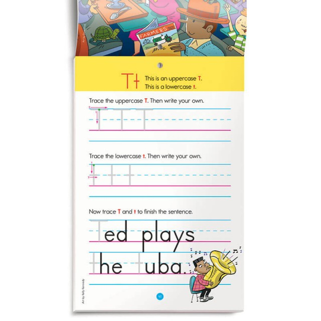 Practice for tracing and writing upper- and lowercase letter T