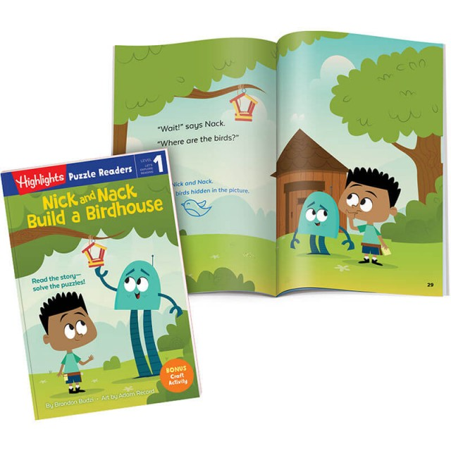 Nick and Nack Build a Birdhouse book and story page