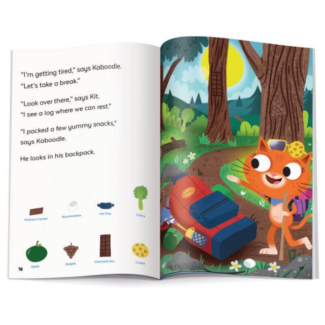 Story page and hiking trail scene