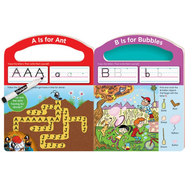 Practice pages for letters A and B with maze and Hidden Pictures puzzle