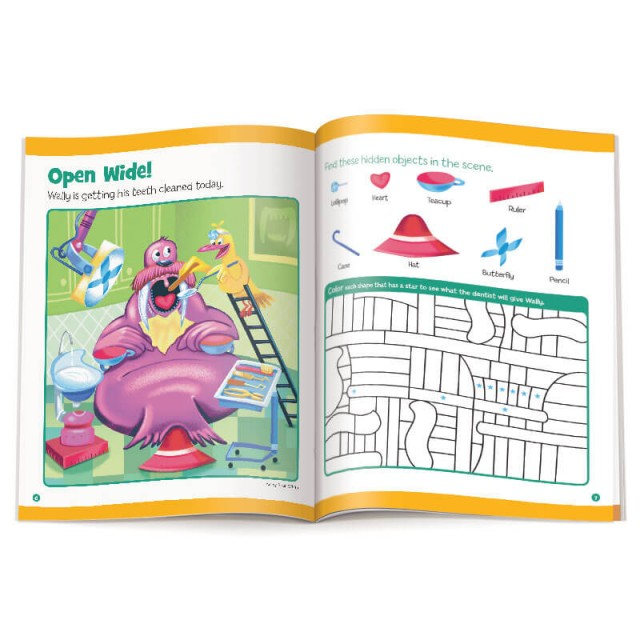 Walrus at the dentist scene and color-by-numbers puzzle