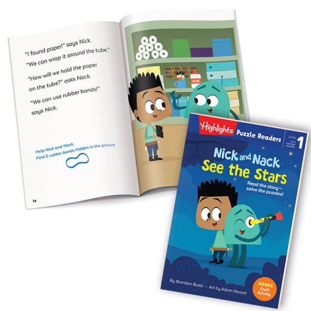 Nick and Nack See the Stars book, with story page and office supplies scene