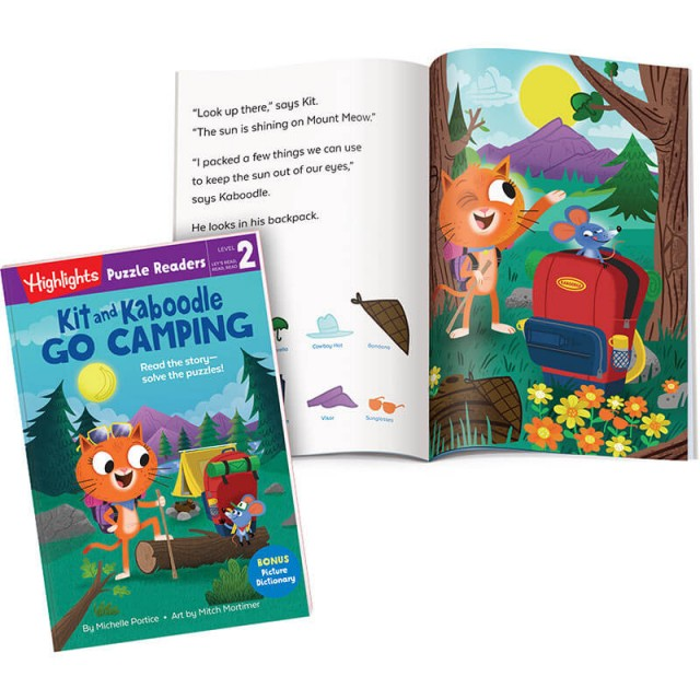 Kit and Kaboodle Go Camping book and illustrated story page