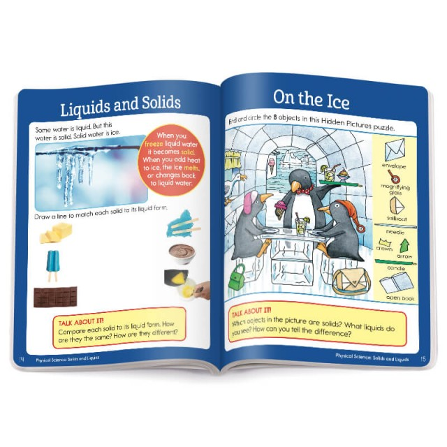 Pages of a physical science learning activity and accompanying Hidden Pictures puzzle scene