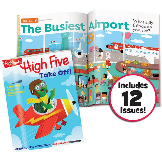 High Five magazine and That's Silly Puzzle airport scene