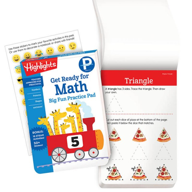 Get Ready for Math practice pad and practice page for drawing triangles