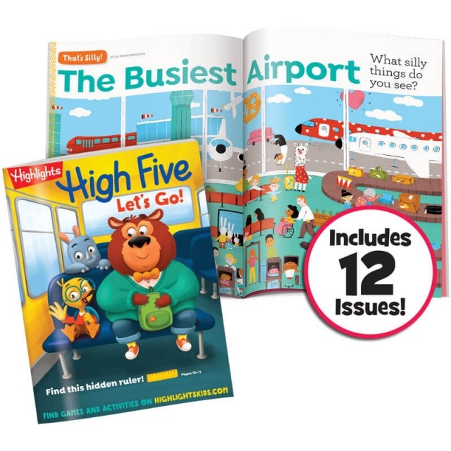 High Five magazine and silly airport scene
