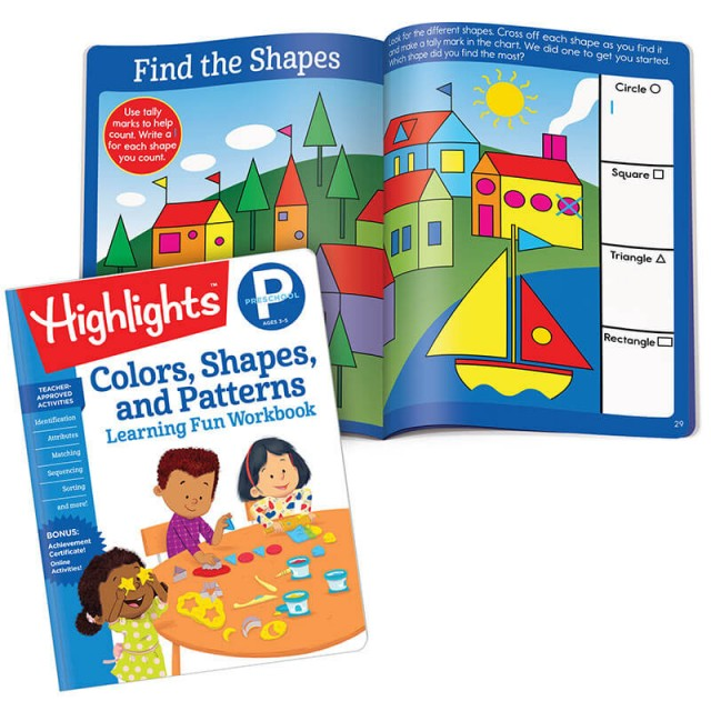 Learning Fun Workbook: Colors, Shapes, and Patterns and scene with shapes