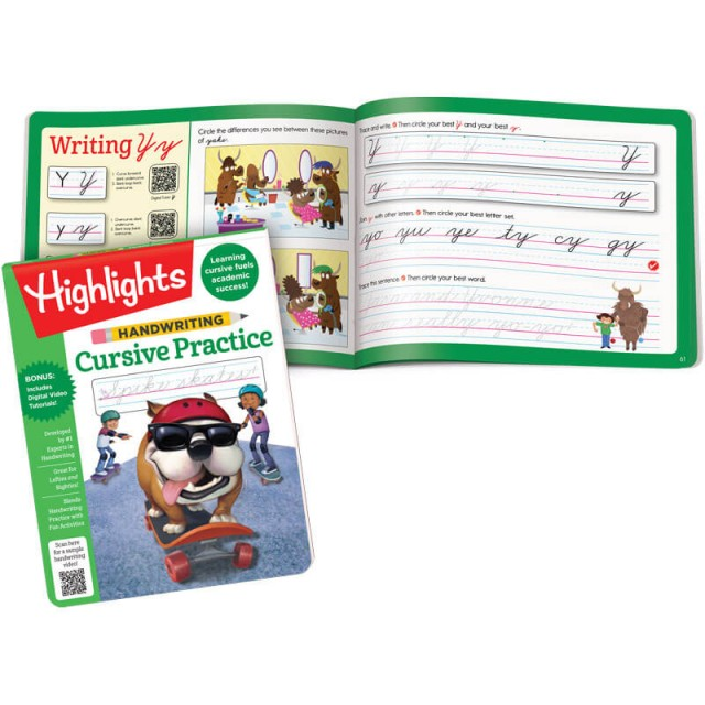 Handwriting Cursive Practice book and a Letter Y practice page