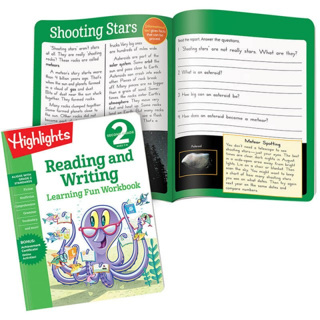 Learning Fun Workbook: Reading and Writing, and illustrated story with questions to answer