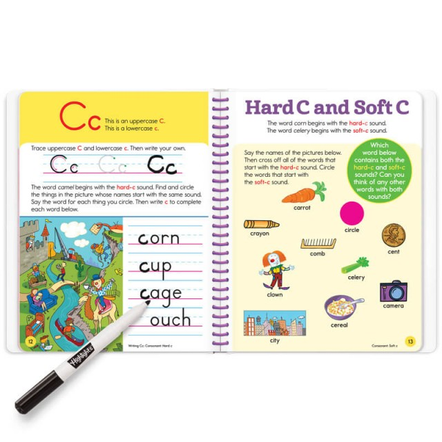 Practice page for writing letter C and lesson for Hard C and Soft C sounds