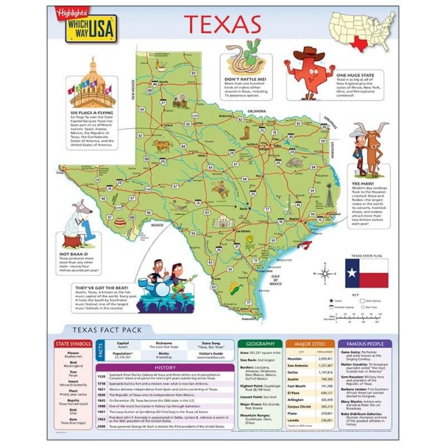The Texas map open to show facts and illustrations
