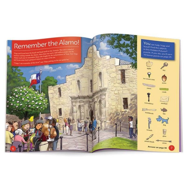 A Hidden Pictures puzzle and information about the Alamo