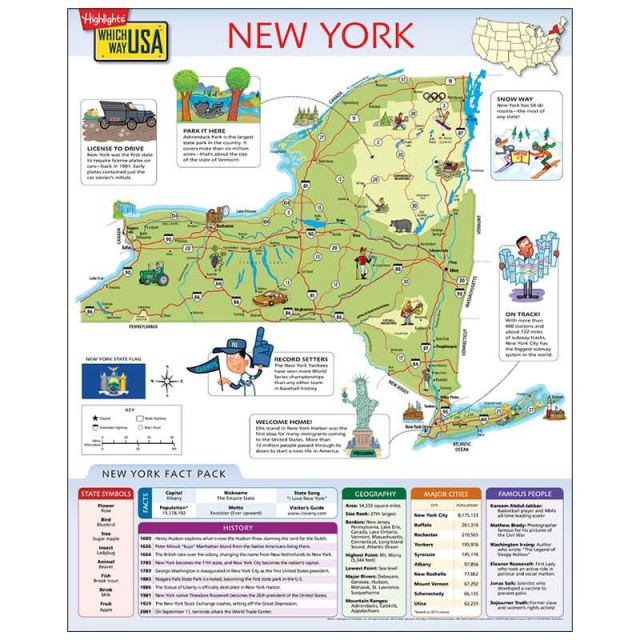 The New York map open to show facts and illustrations