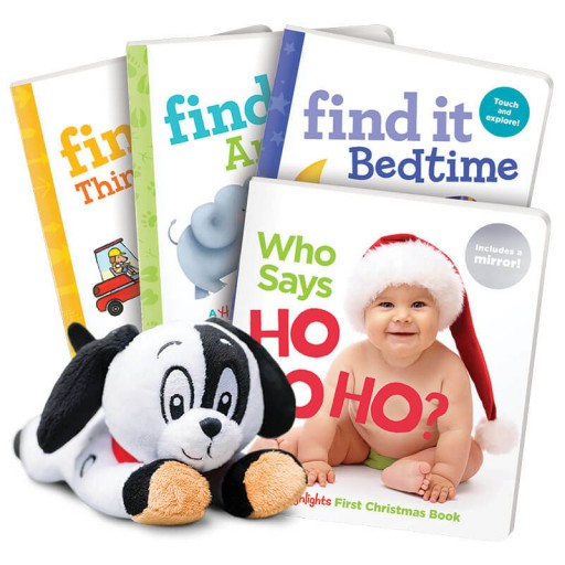 Christmas Gift Set with 4 books and plush dog toy